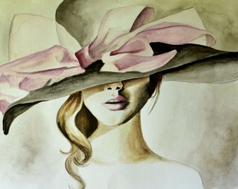 "Hat with a Bow Original Watercolor Fashion Art Illustration 11""X14"""