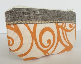 Orange and white swirl Small zippered pouch