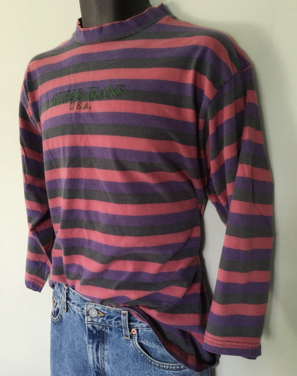 Vintage Early 90 39 S Guess Jeans Usa Striped Long Sleeve