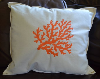 Nautical Pillow Coral Orange Ocean Seaside Beach Decor