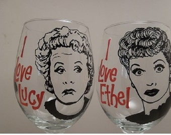 Lucille Ball, Vivian Vance, I Love Lucy, Hand painted glasses, Painted wine glasses