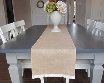 Burlap and cream cotton lace table runner - wedding table runner - crochet Cluny lace on ends - fall runner