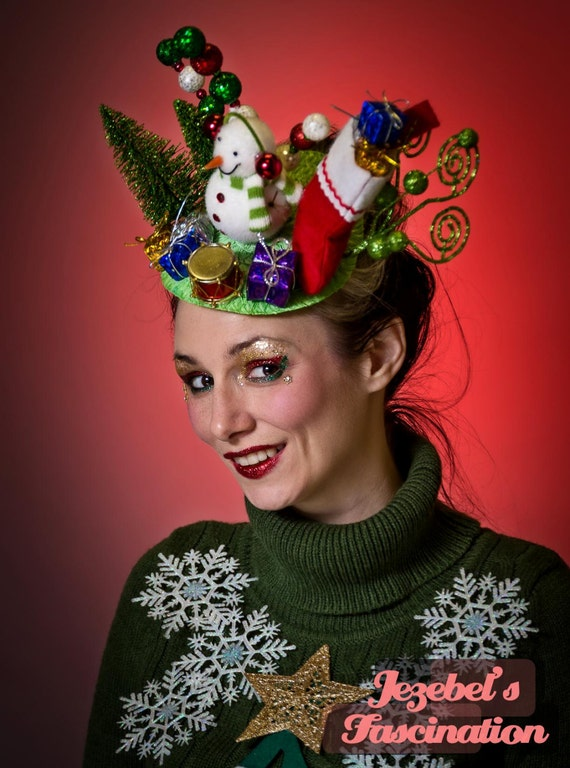 Ugly christmas sweater fascinator xmas tacky frosty snowman vintage