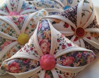 Handmade Pin Cushion, Cathedral Window, Sewing Accessory