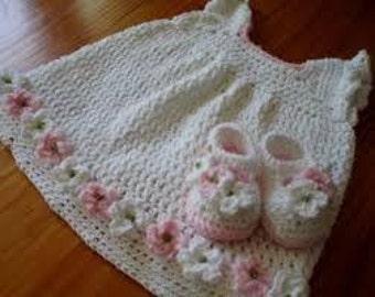 Crochet dress, cap and booties set