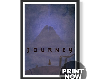 Journey game - Vintage style - Mountain - Self discovery - (Blue) - Premium A2 LARGE Poster Print - Instant Download - Printable