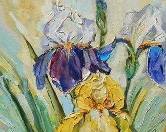 Original oil painting Flowers iris,oil painting, iris, iris painting,art painting, painting Flowers,Flowers iris,art oil