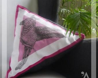 Triangular cushion 4 sides - Handmade in Paris - ZEBIRD model. - PINK/VIOLET