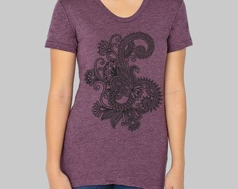 American Apparel Henna Flower T-shirt,  screen printed tee, junior clothing, forest green