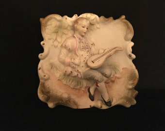 Mid Century Porcelain Bisque Wall Decor     VG1684