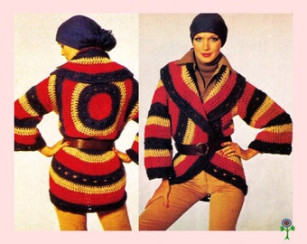 Vintage 70's Crochet Pattern to make a Ladies Fab Wrap Over Circular Jacket with Collar by PDF for Immediate Digital Delivery