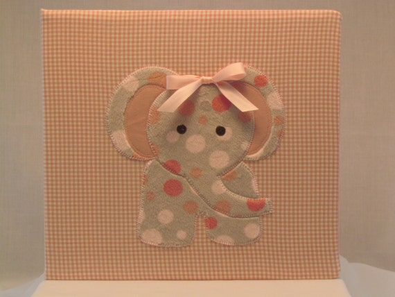 12x12 Postbound Fabric Scrapbook Photo Album Memory Book Baby Girl Shower Light Pink Elephant Zoo Gingham Applique AO72 Album Outfitters