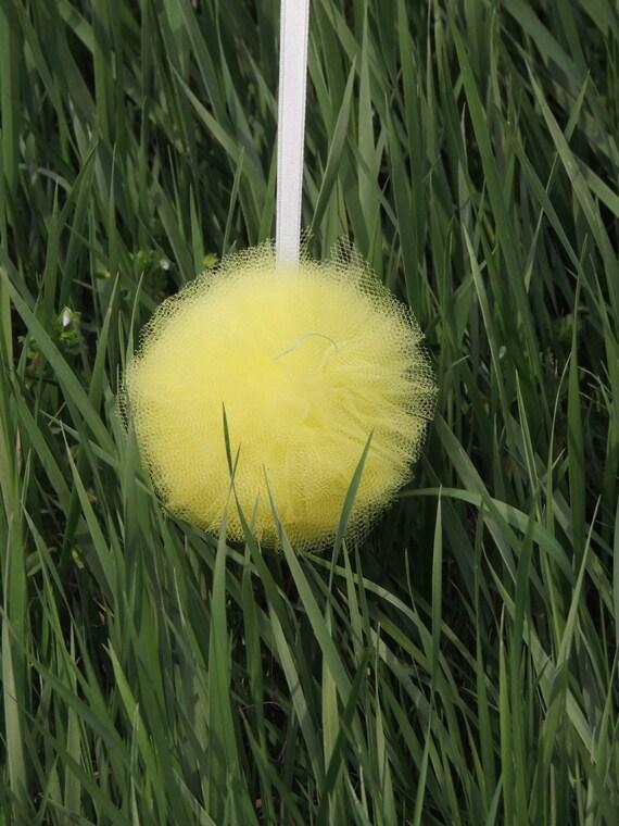 Yellow nursery pom poms : Hanging fabric poms