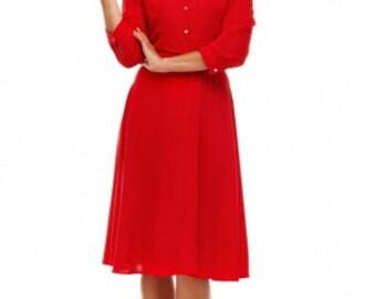 Elegant Dress Red Knee Length Flared Formal Dress.