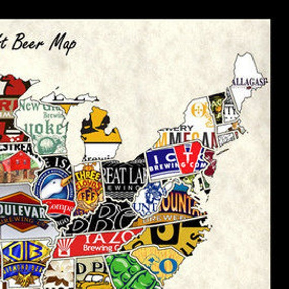 United States USA US Craft Beer Brands Wall Map Poster Decor - Us beer map wall art