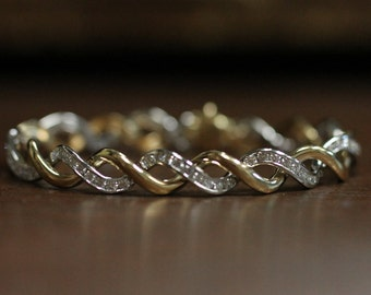 Diamond and Twisted Gold Bracelet