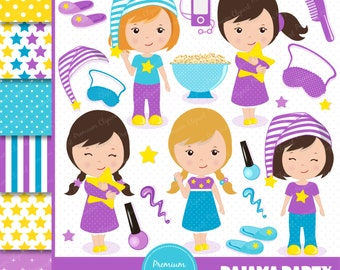 Sleepover party clipart, Pajama party clipart, Slumber clipart, Sleepover party clipart, Sleepover clipart, Sleepover - CL108