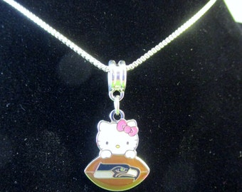 SEATTLE SEAHAWKS Hello Kitty 925 Sterling Silver Necklace