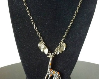 Giraffe Pendant Necklace with Brass Leaf Charms