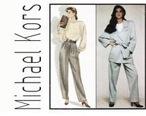 Michael Kors Pattern, Style 1251 sz 12 b 34, Womens Designer Suit, 1980s Pant Suit, Wrap Jacket, Pleated Tapered Pants, Raglan Sleeve Blouse