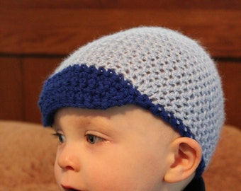 Crochet Baby Blue Baseball Hat