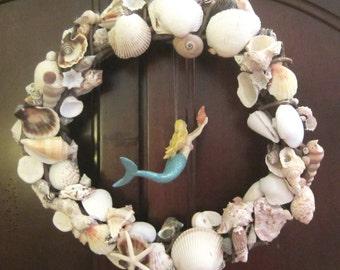 Ocean Fantasy Seashell Mermaid Starfish Beach Wreath sea underwater diving Nautical Handmade One-Of-A-Kind