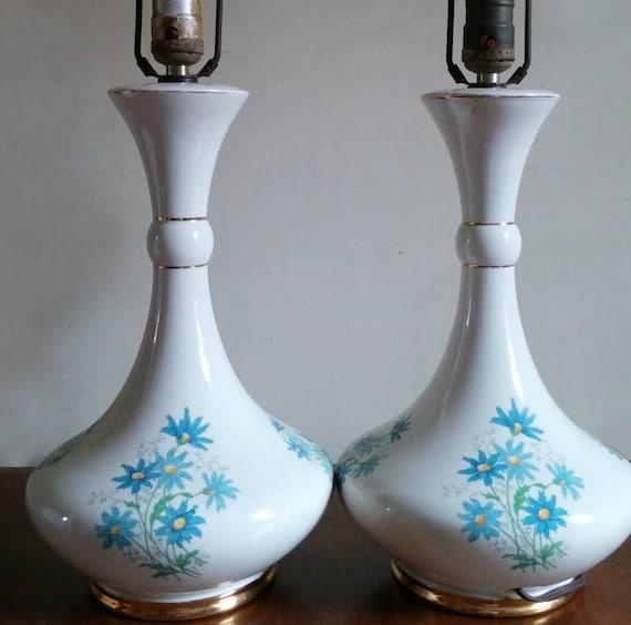 Mid Century Lamps Genie Bottle Flower Design Pair