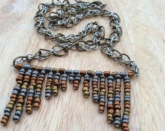 Inverse Chevron Multi-Metal Necklace