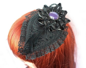 Gothic Fascinator with lace and purple cameo