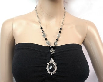 Gothic black cameo necklace