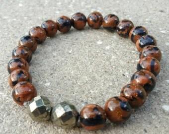 Men's Goldstone & Pyrite Crystal Bracelet