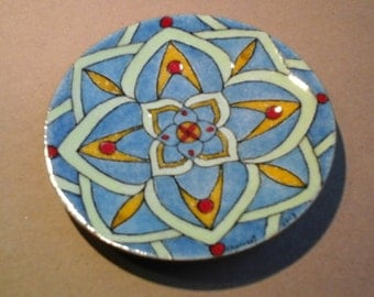 Plate Mandala, enamel on copper, blue, pale green, yellow amber, bright red, enamel on copper
