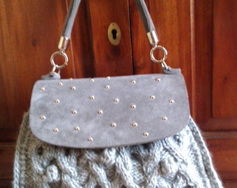 Grey wool handbag