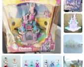RARE BOXED1995 Vintage Polly Pocket Disney Cinderella Enchanted Castle 100% COMPLETE in Original BOX