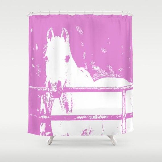 white horse shower curtain pink animal curtain bath