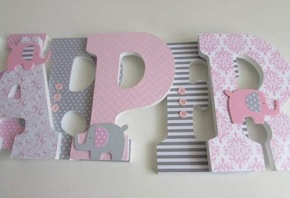 Harper 9 Elephant Theme Pink And Gray Grey Nursery Wood