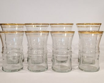 Set of Eight Vintage Gold Rimmed Barware Glasses Juice and Collins