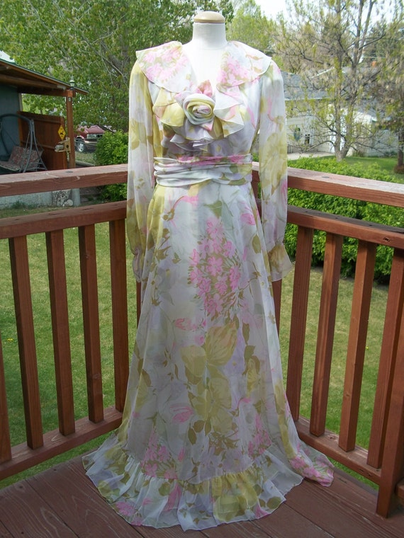 Vintage Long Floral Chiffon Garden Party Dress
