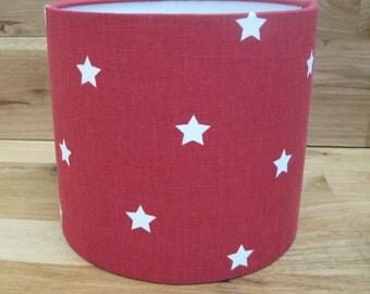 Handmade Drum Lampshade in Red Star Fabric