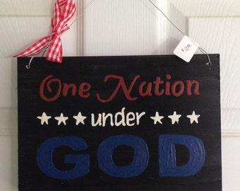 One Nation Under God Wooden Sign