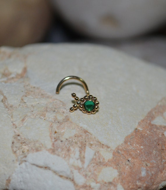 items similar to 2mm emerald nose stud gold fish nose
