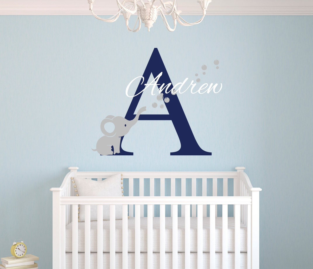 Name Wall Decals For Nursery Tags: Name Wall Decal Elephant Wall Decal Nursery Baby Room