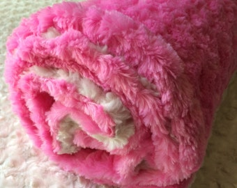 Pink and White Minky Baby Blanket