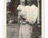 Vintage Photo Patriotic Baby Waves American Flag From Daddy's Arms July 4th