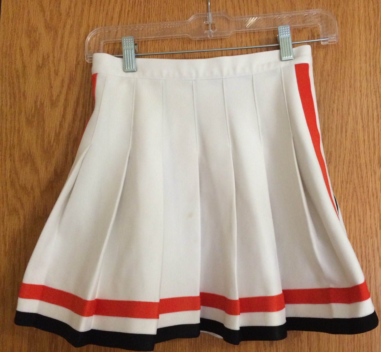 pleated white cheerleading skirt