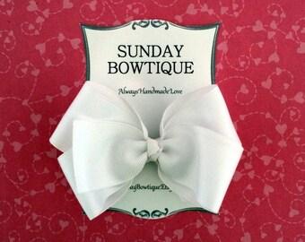 White Hair Bow, White Hairbow, White Boutique Bow, White Hair Clip, White Hair Accessory, School Uniform Bow, School Hair Bow, Hairbow