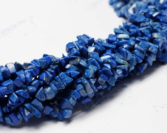 Bright Blue Color ~ Hand Carved Natural Blue Lapis Chip Beads: Size ~5mm x ~8mm. Length 16inches (per string)