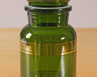 Vintage green and gold apothecary jar