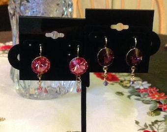 Swarovski amethyst crystal rivoli earrings