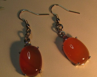 Oval Dangle Earrings Agate